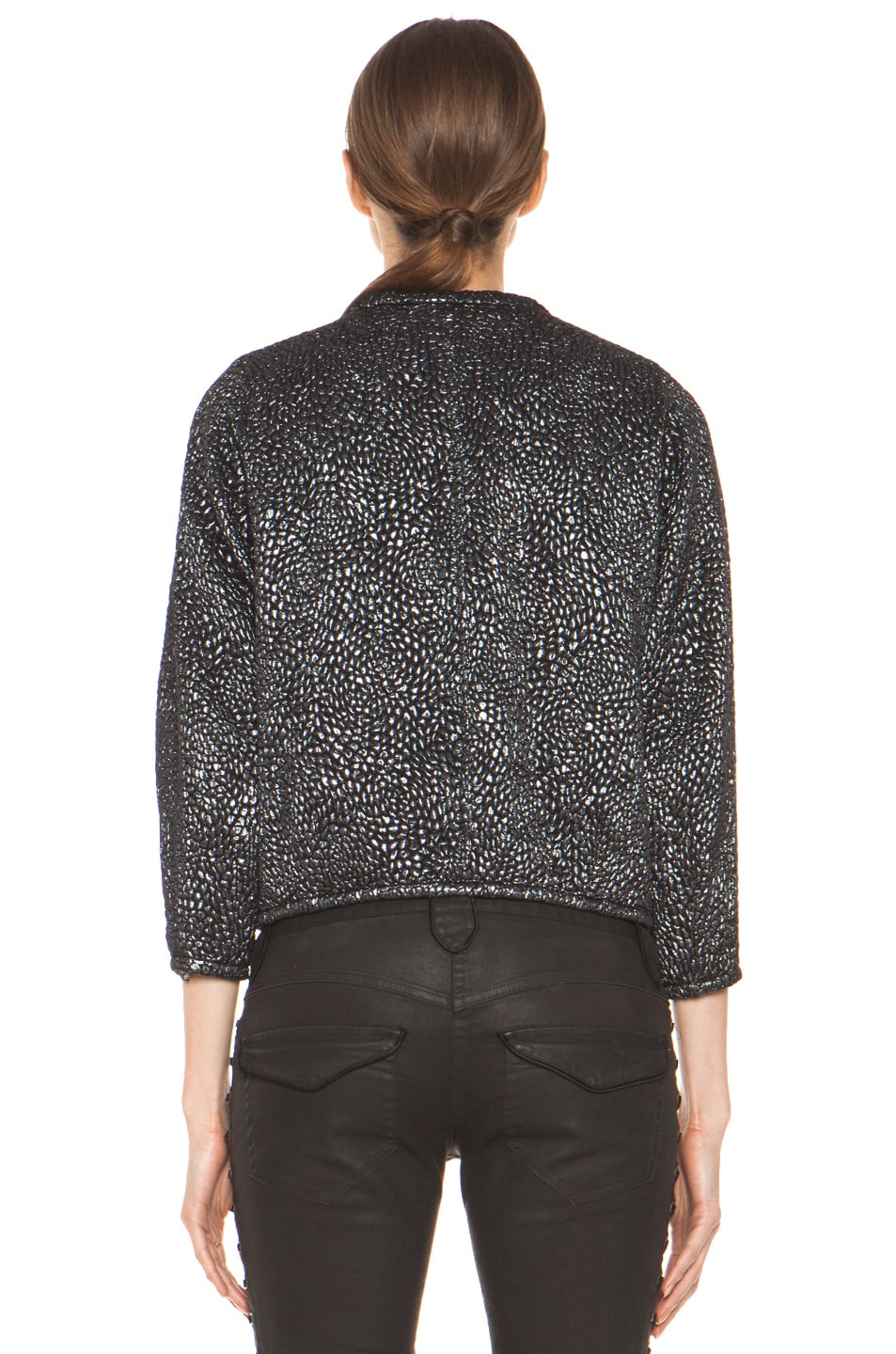 Image 5 of Isabel Marant Ginkle Bumpy Lurex Metallic Jacket in Black Silver