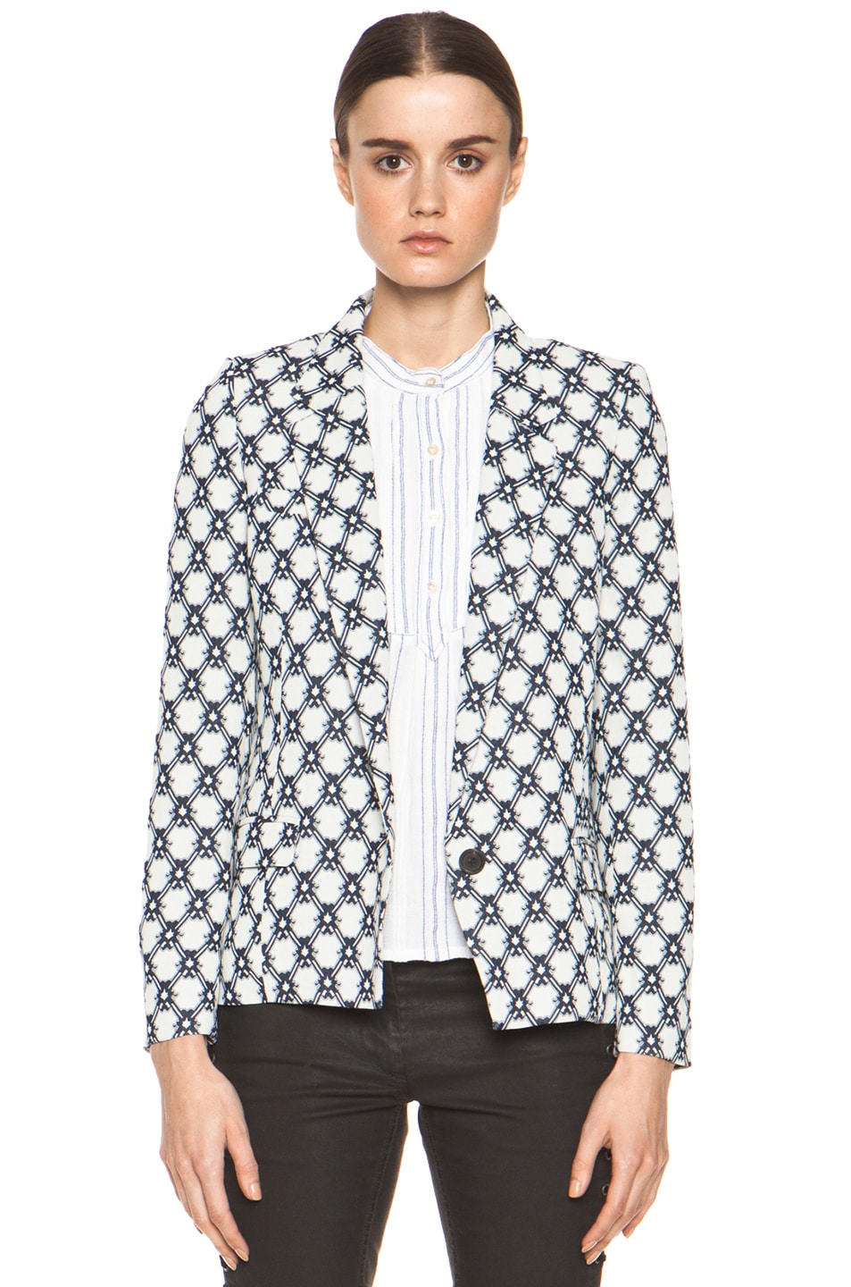 Image 1 of Isabel Marant Malone 70's Jacquard Jacket in Night Blue