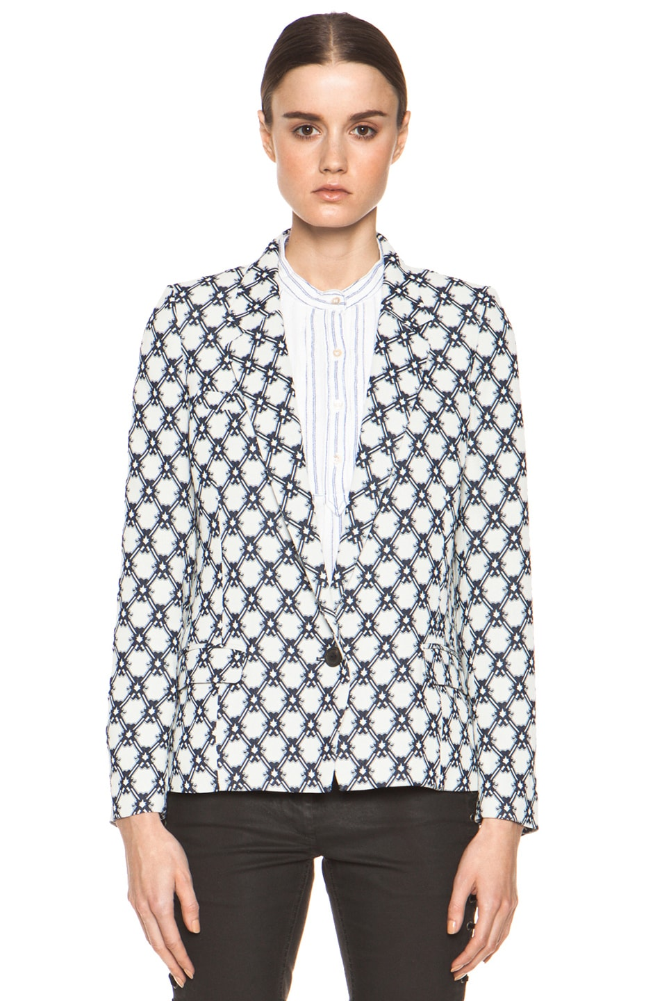 Image 2 of Isabel Marant Malone 70's Jacquard Jacket in Night Blue