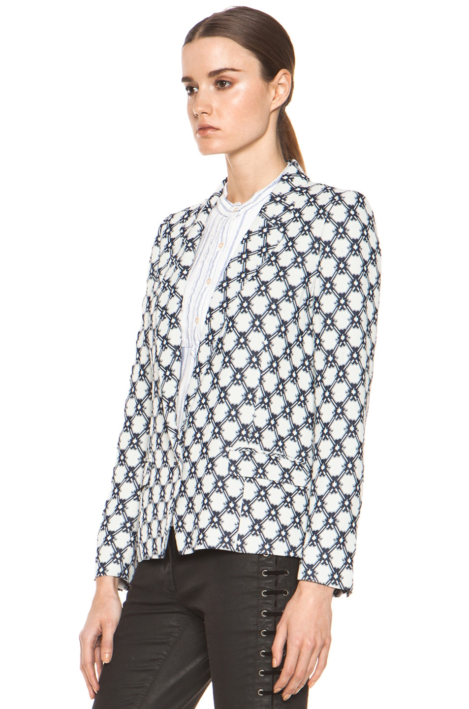 Image 3 of Isabel Marant Malone 70's Jacquard Jacket in Night Blue