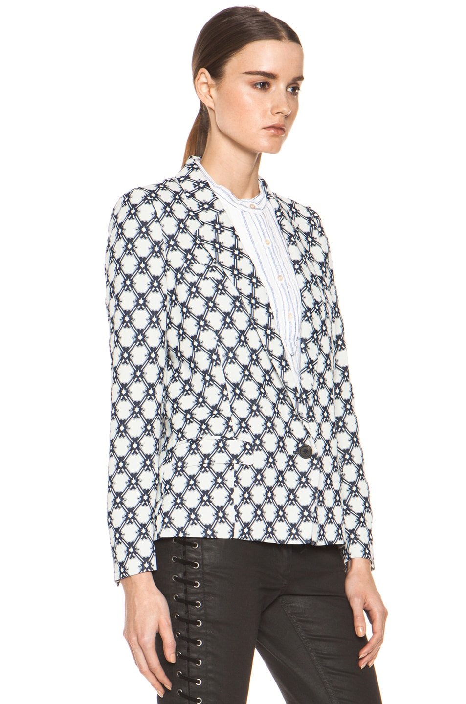 Image 4 of Isabel Marant Malone 70's Jacquard Jacket in Night Blue