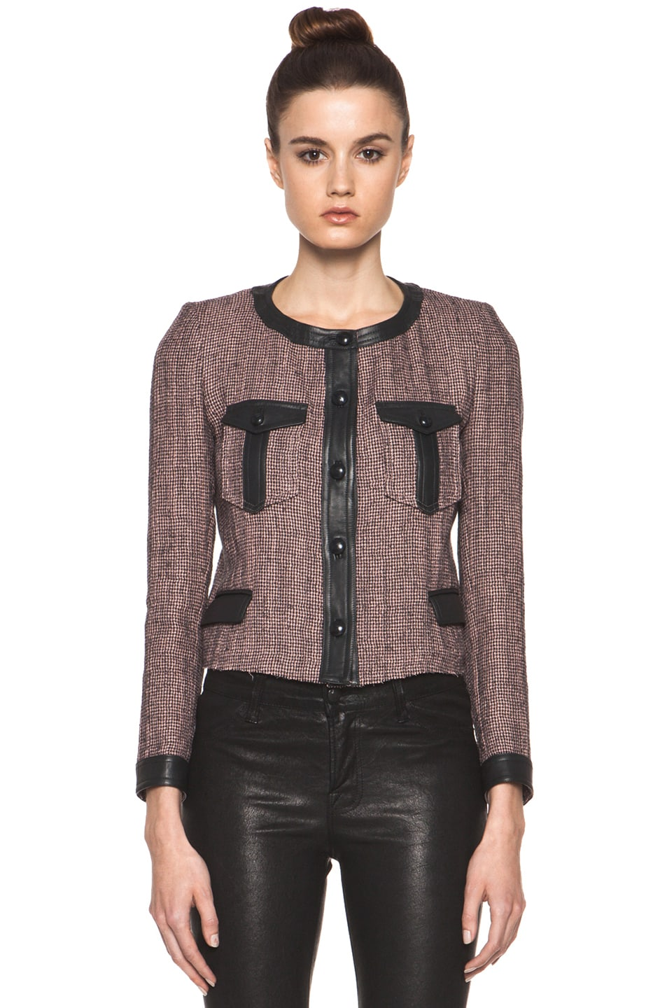 Image 2 of Isabel Marant Kacie Wool-Blend Tweed Jacket in Dusty Pink