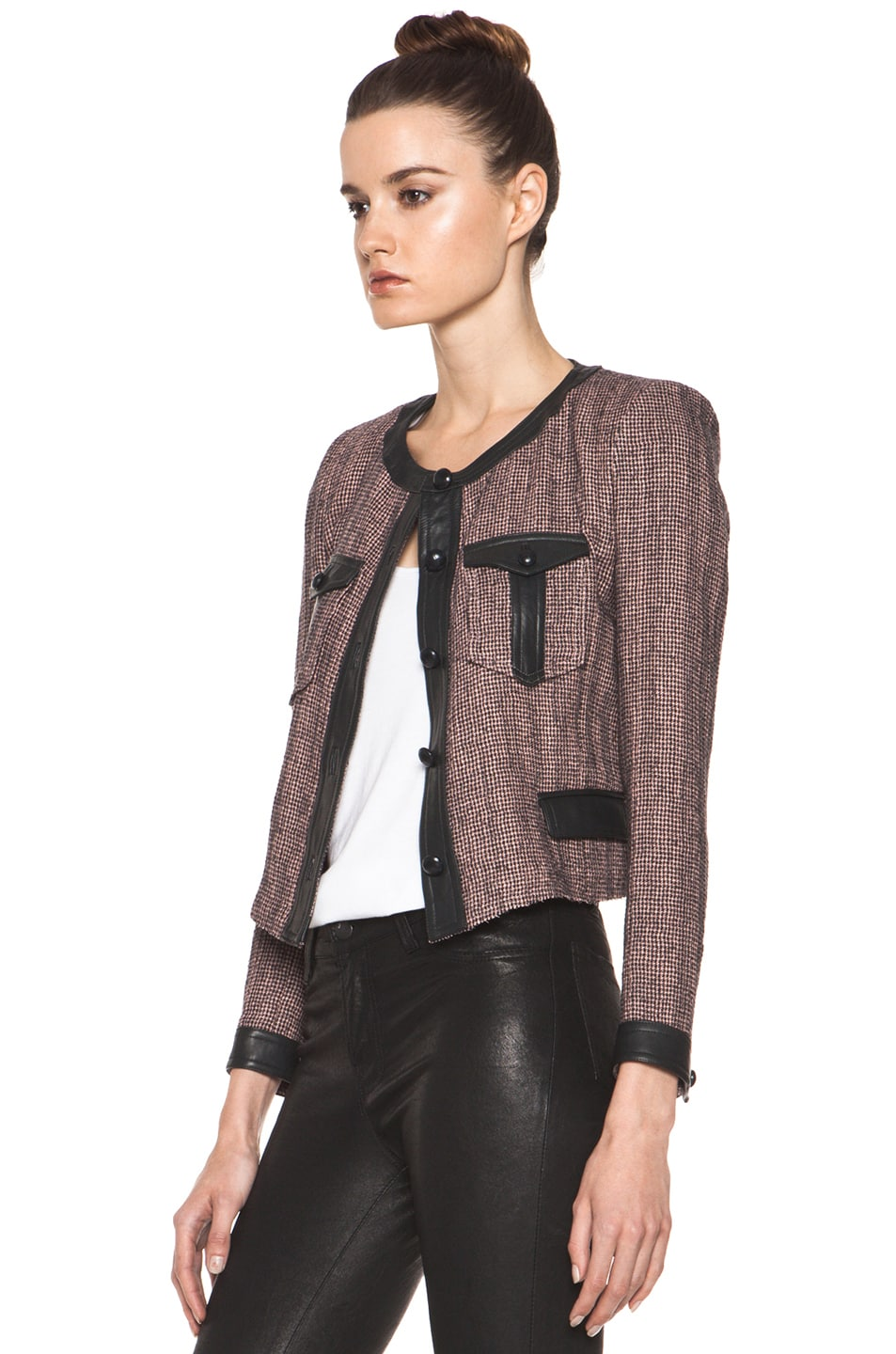 Image 3 of Isabel Marant Kacie Wool-Blend Tweed Jacket in Dusty Pink