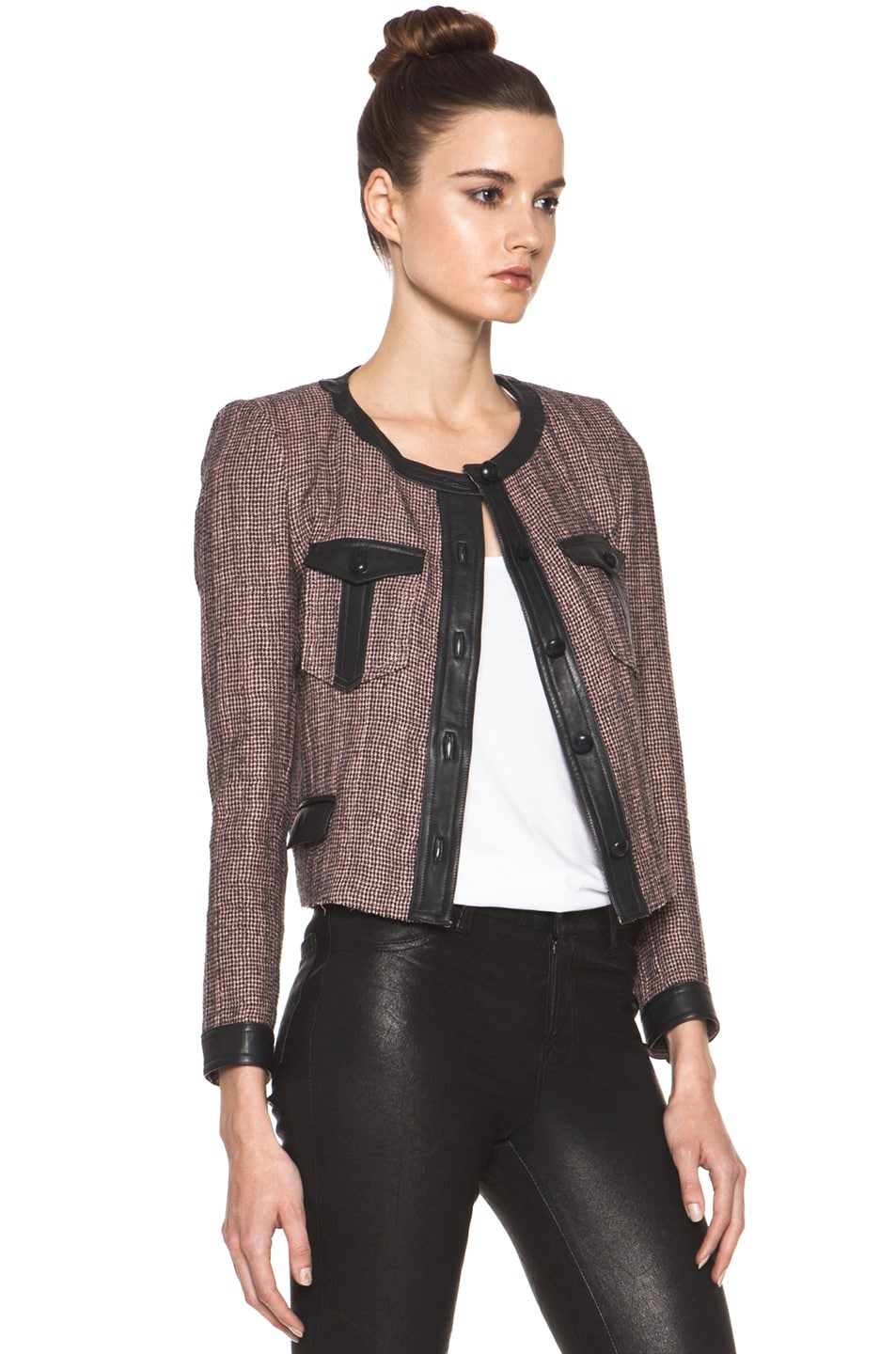 Image 4 of Isabel Marant Kacie Wool-Blend Tweed Jacket in Dusty Pink