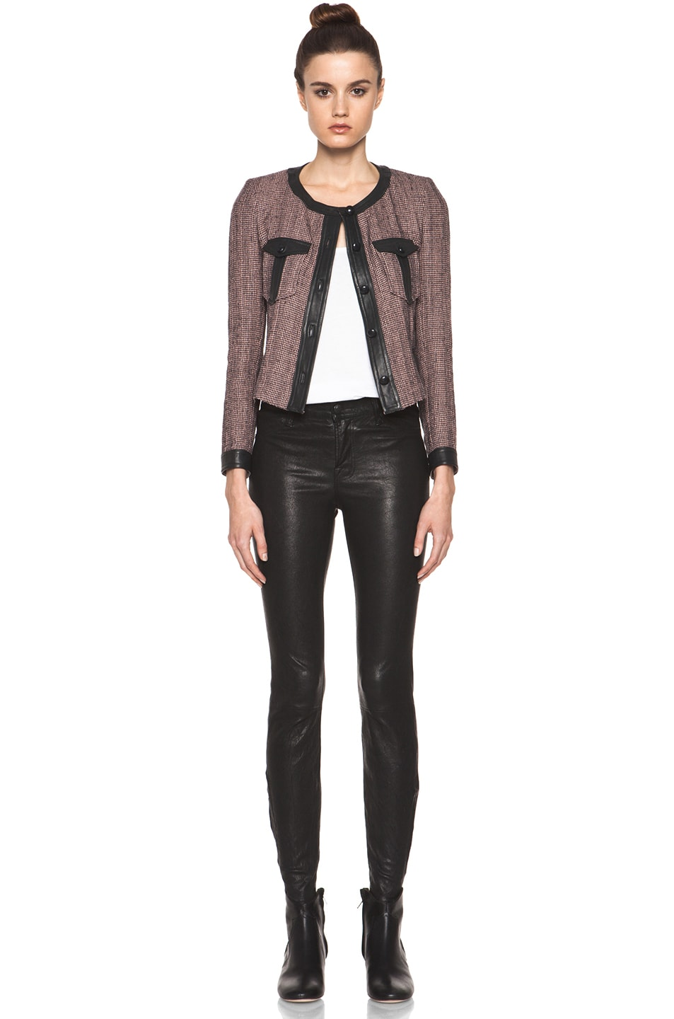 Image 6 of Isabel Marant Kacie Wool-Blend Tweed Jacket in Dusty Pink