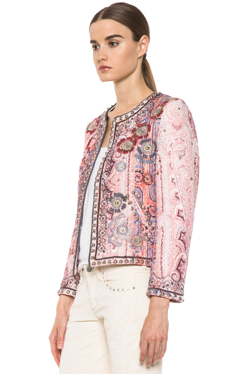 Image 2 of Isabel Marant Johnson Quilted Paisley Jacket in Violet Blue