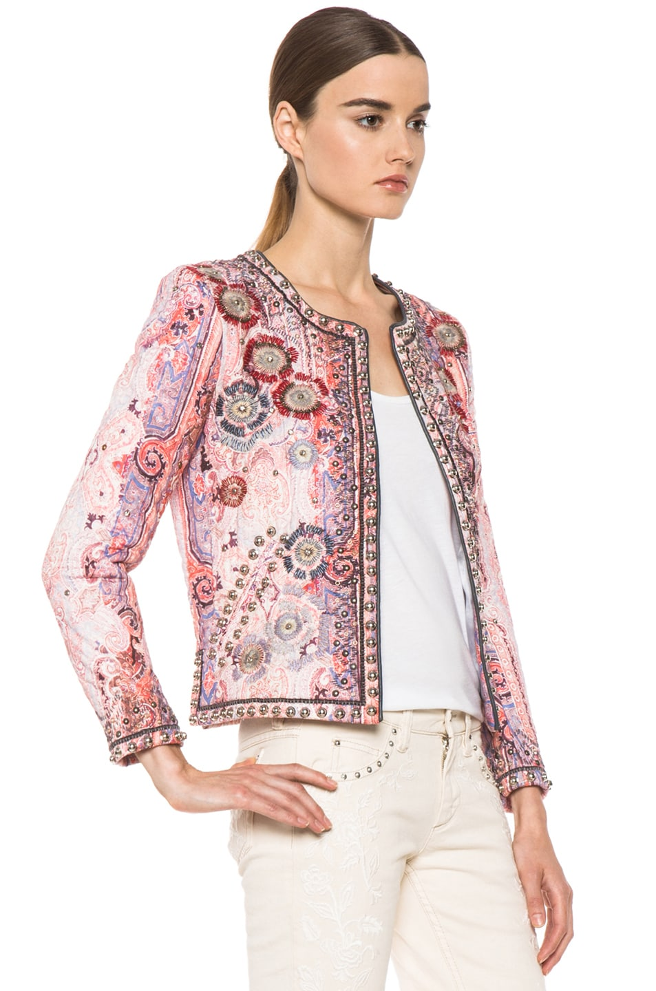 Image 3 of Isabel Marant Johnson Quilted Paisley Jacket in Violet Blue