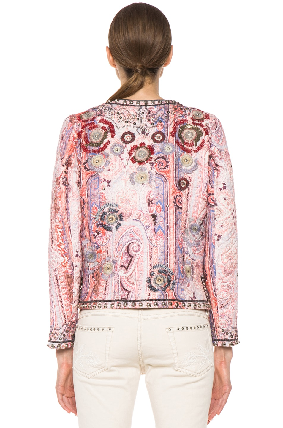 Image 4 of Isabel Marant Johnson Quilted Paisley Jacket in Violet Blue