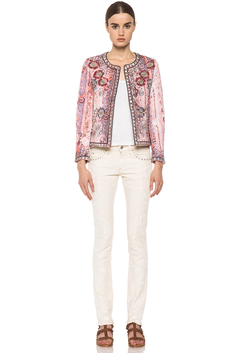 Image 5 of Isabel Marant Johnson Quilted Paisley Jacket in Violet Blue