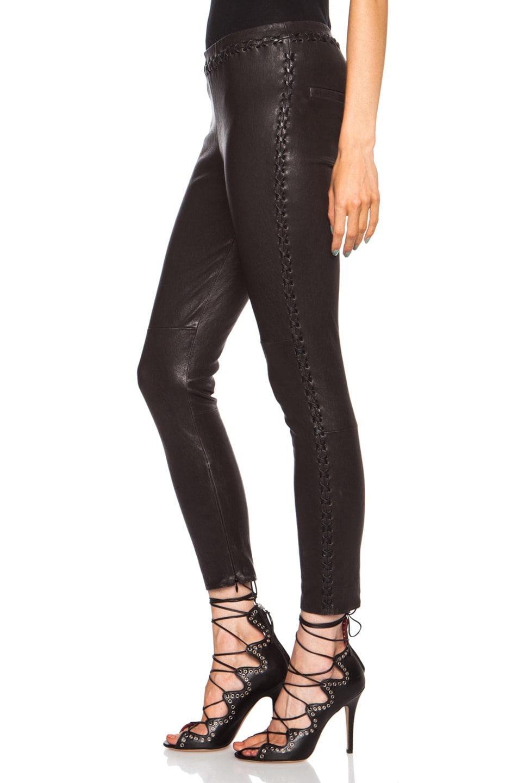 Image 2 of Isabel Marant Dayton Stretch Leather Pant in Black