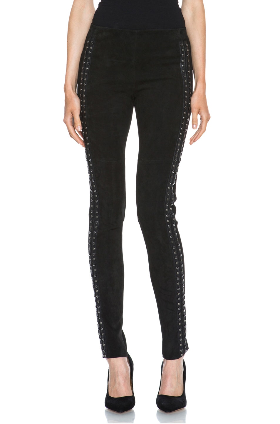 Image 1 of Isabel Marant Irox Lambskin Studded Leggings in Faded Black