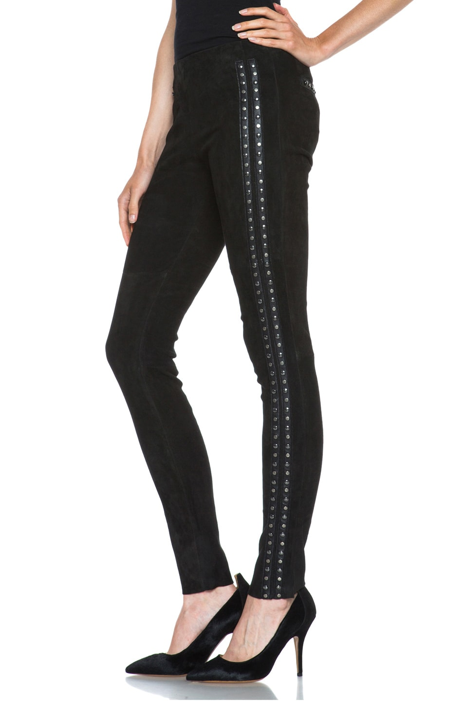 Image 2 of Isabel Marant Irox Lambskin Studded Leggings in Faded Black