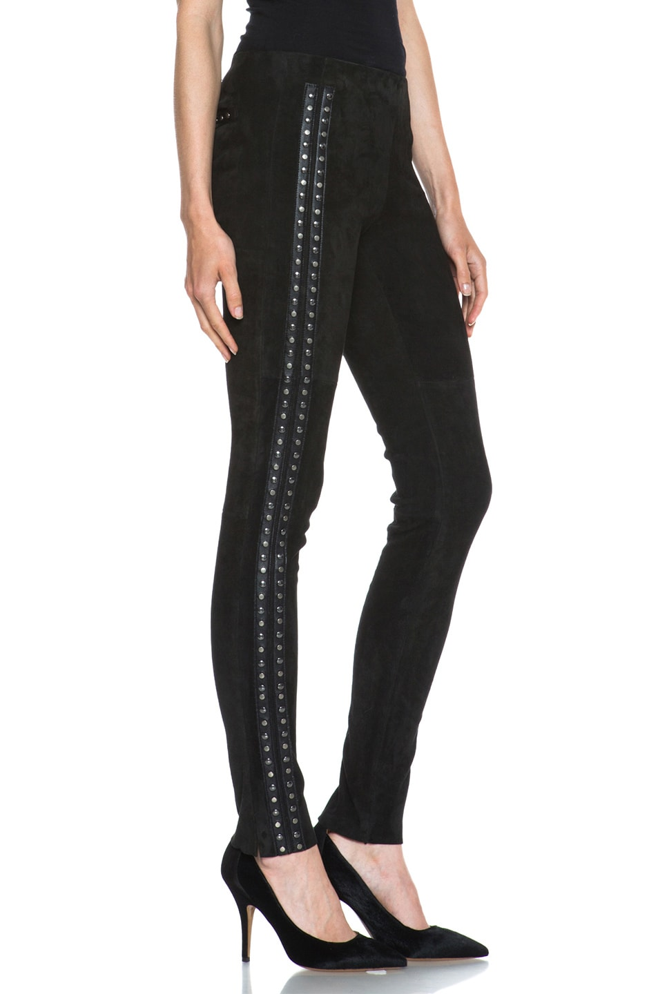 Image 3 of Isabel Marant Irox Lambskin Studded Leggings in Faded Black
