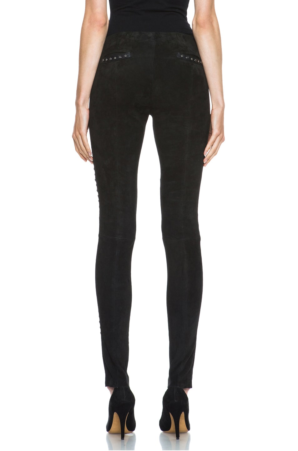 Image 4 of Isabel Marant Irox Lambskin Studded Leggings in Faded Black