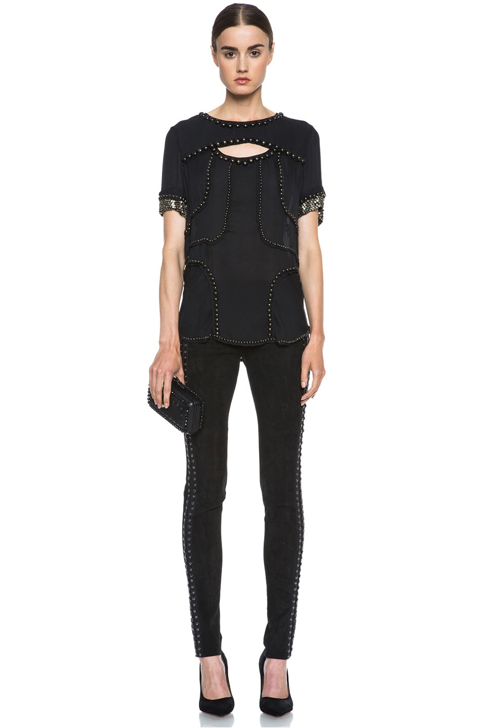 Image 5 of Isabel Marant Irox Lambskin Studded Leggings in Faded Black