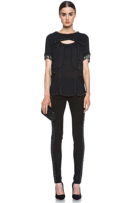 Image 5 of Isabel Marant Irox Lambskin Studded Leggings in Faded Black