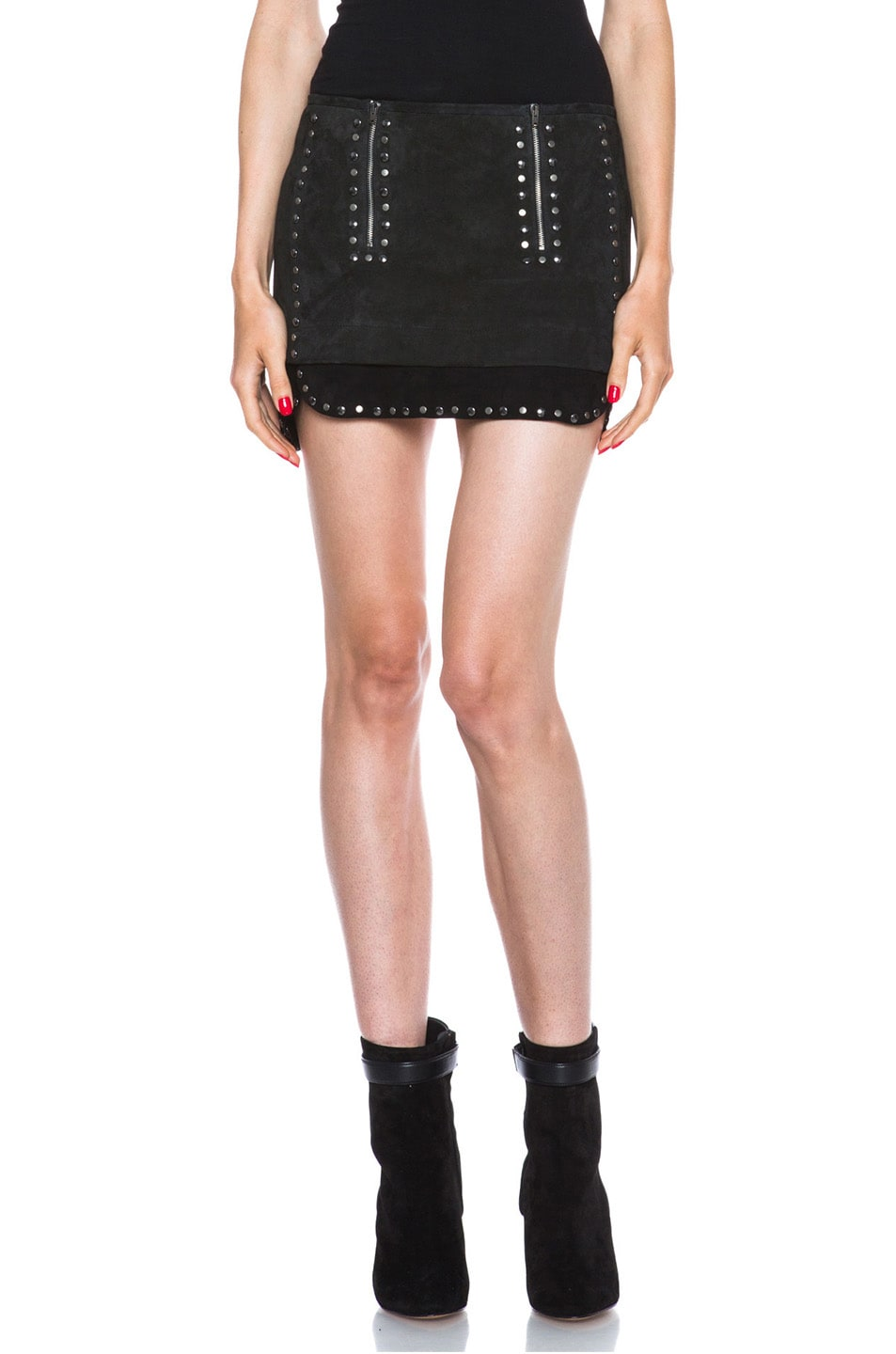 Image 1 of Isabel Marant Iolana Lambskin Studded Skirt in Faded Black