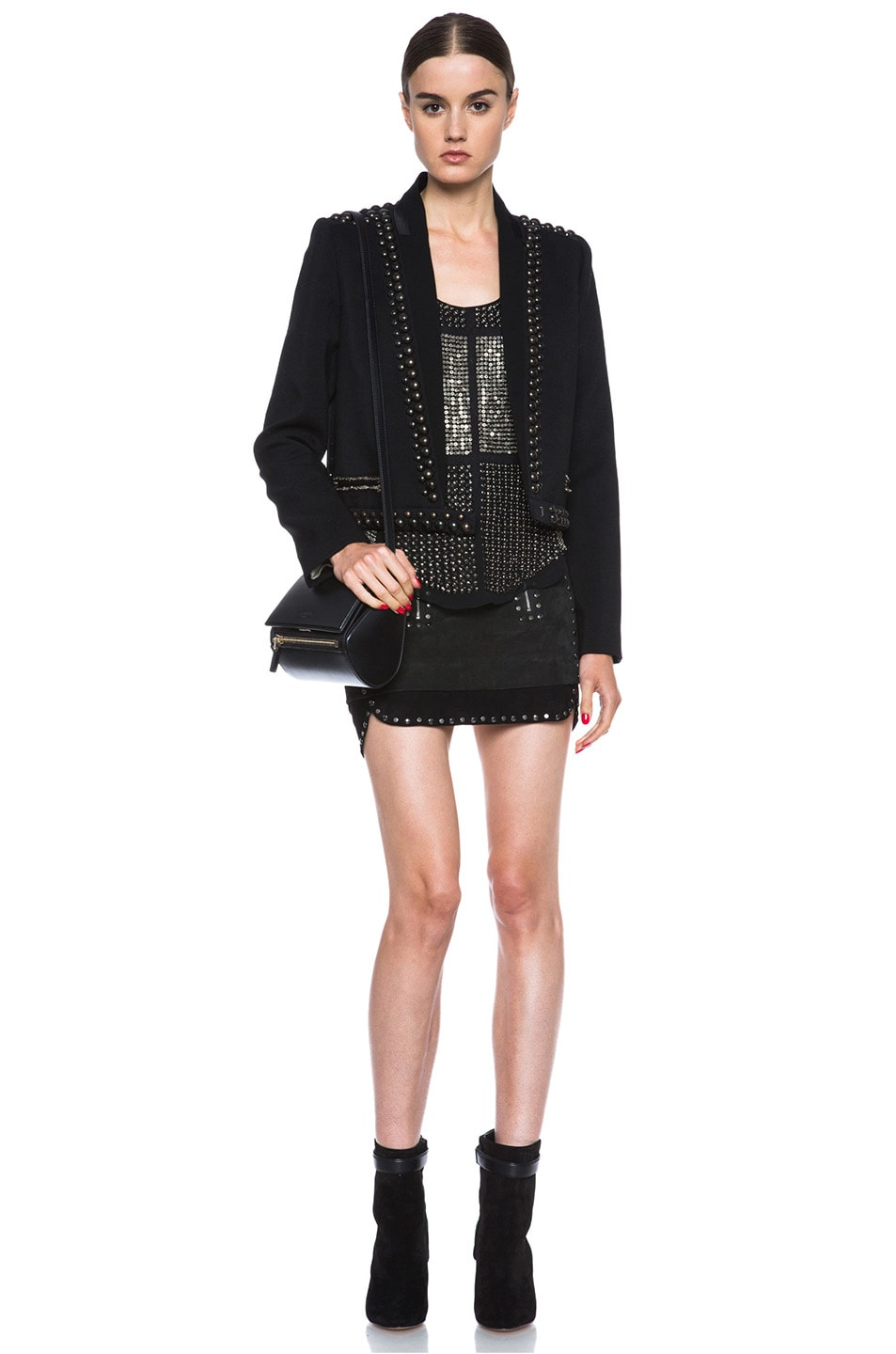 Image 5 of Isabel Marant Iolana Lambskin Studded Skirt in Faded Black