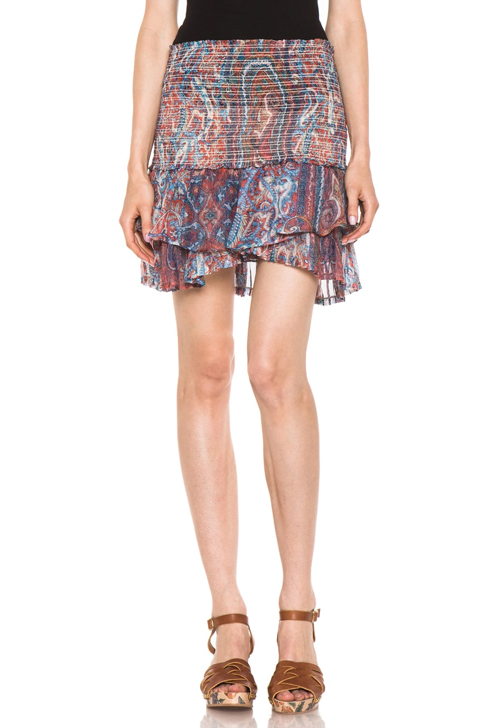Image 1 of Isabel Marant Silea Paisley Silk Gauze Skirt in Red