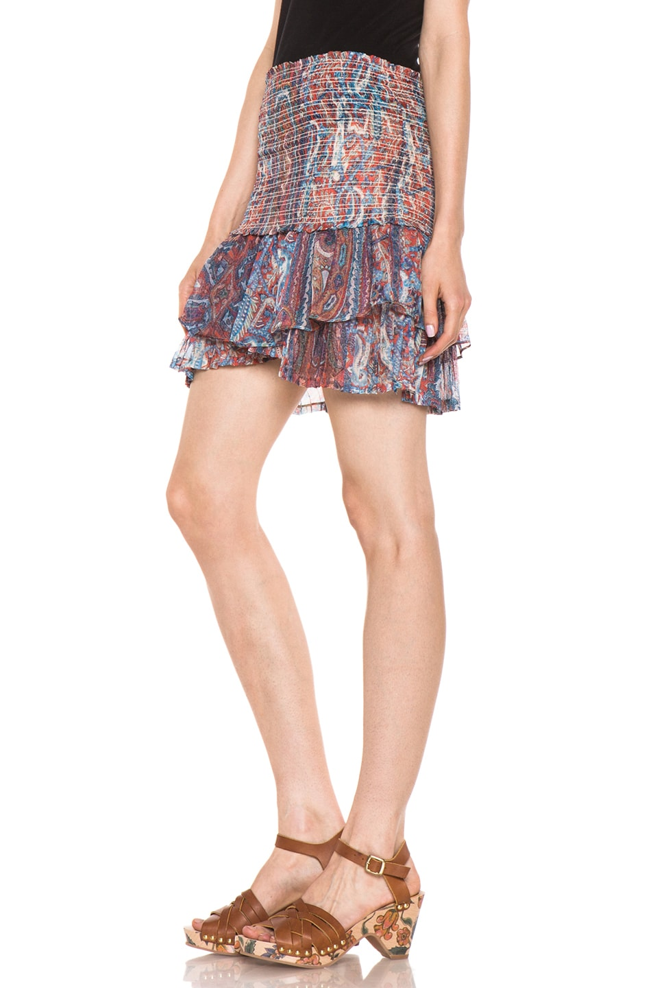 Image 2 of Isabel Marant Silea Paisley Silk Gauze Skirt in Red