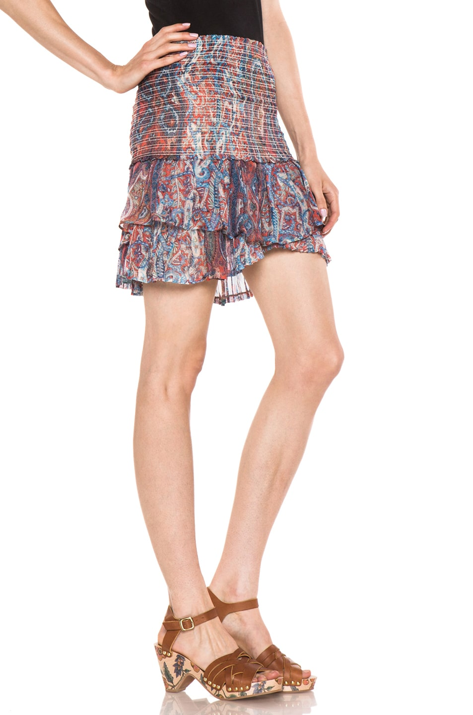Image 3 of Isabel Marant Silea Paisley Silk Gauze Skirt in Red