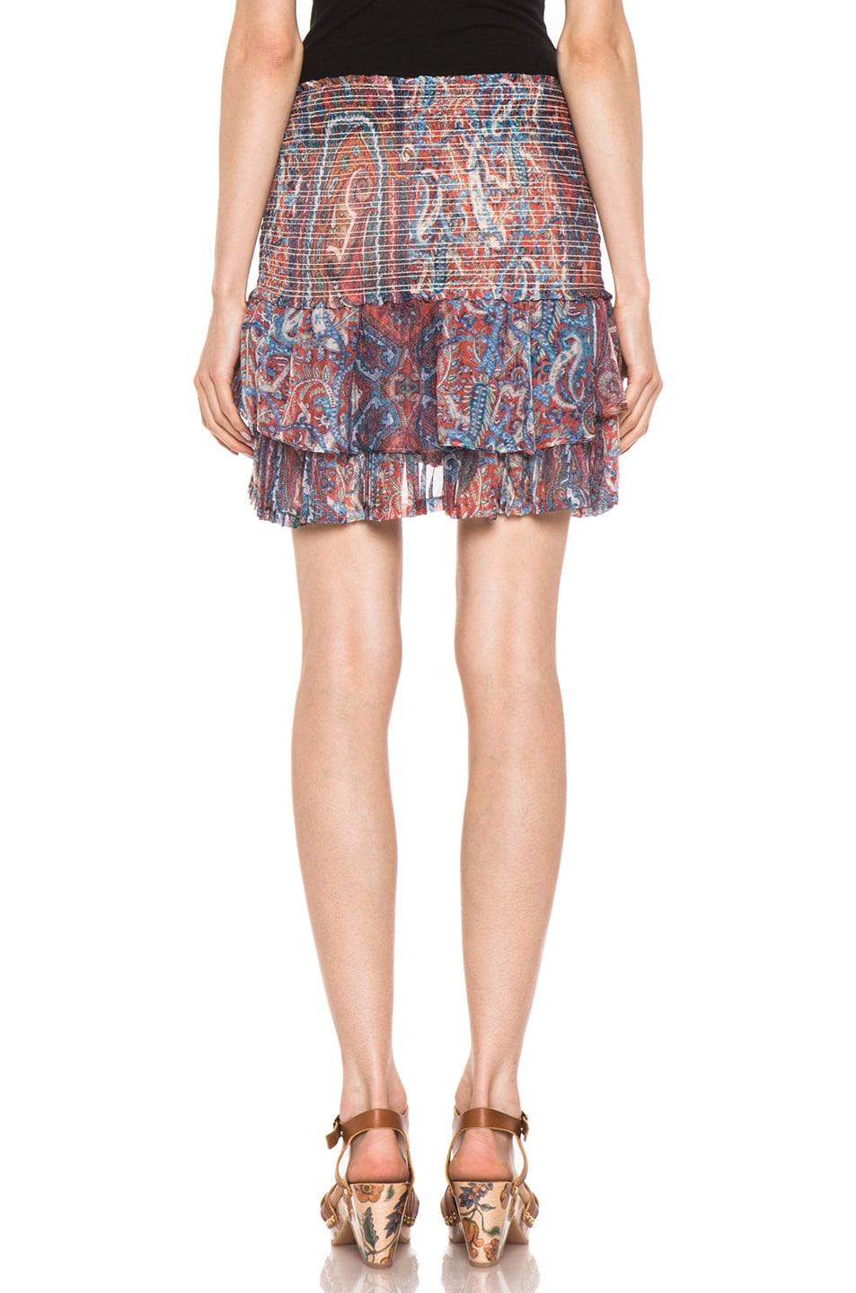 Image 4 of Isabel Marant Silea Paisley Silk Gauze Skirt in Red