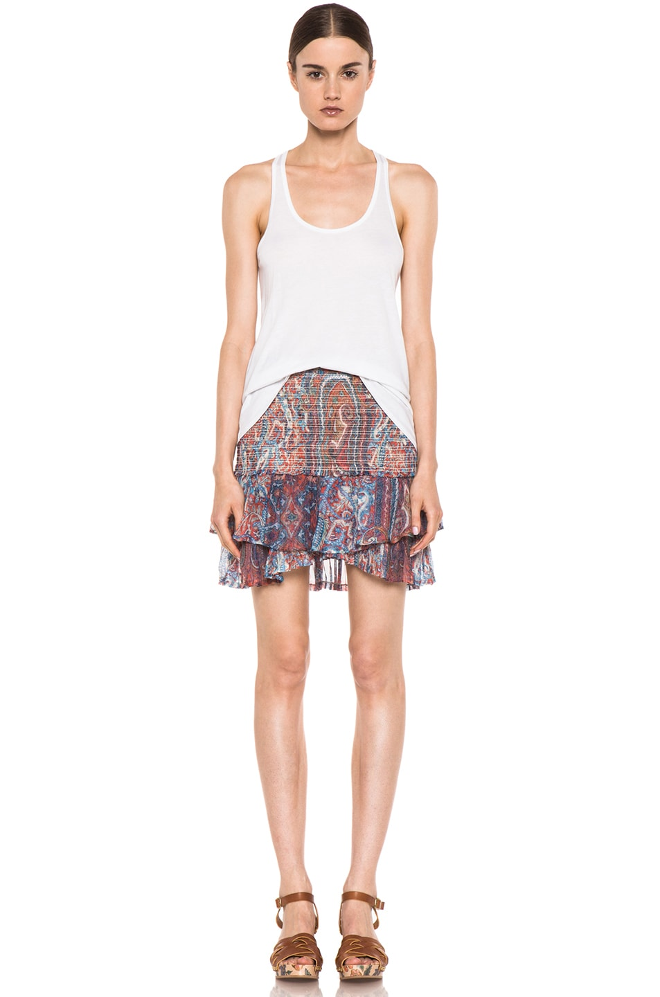 Image 5 of Isabel Marant Silea Paisley Silk Gauze Skirt in Red