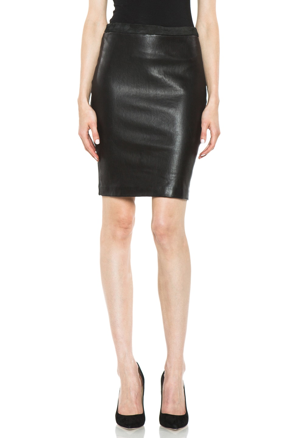 Image 1 of Isabel Marant Istone Lambskin Skirt in Faded Black