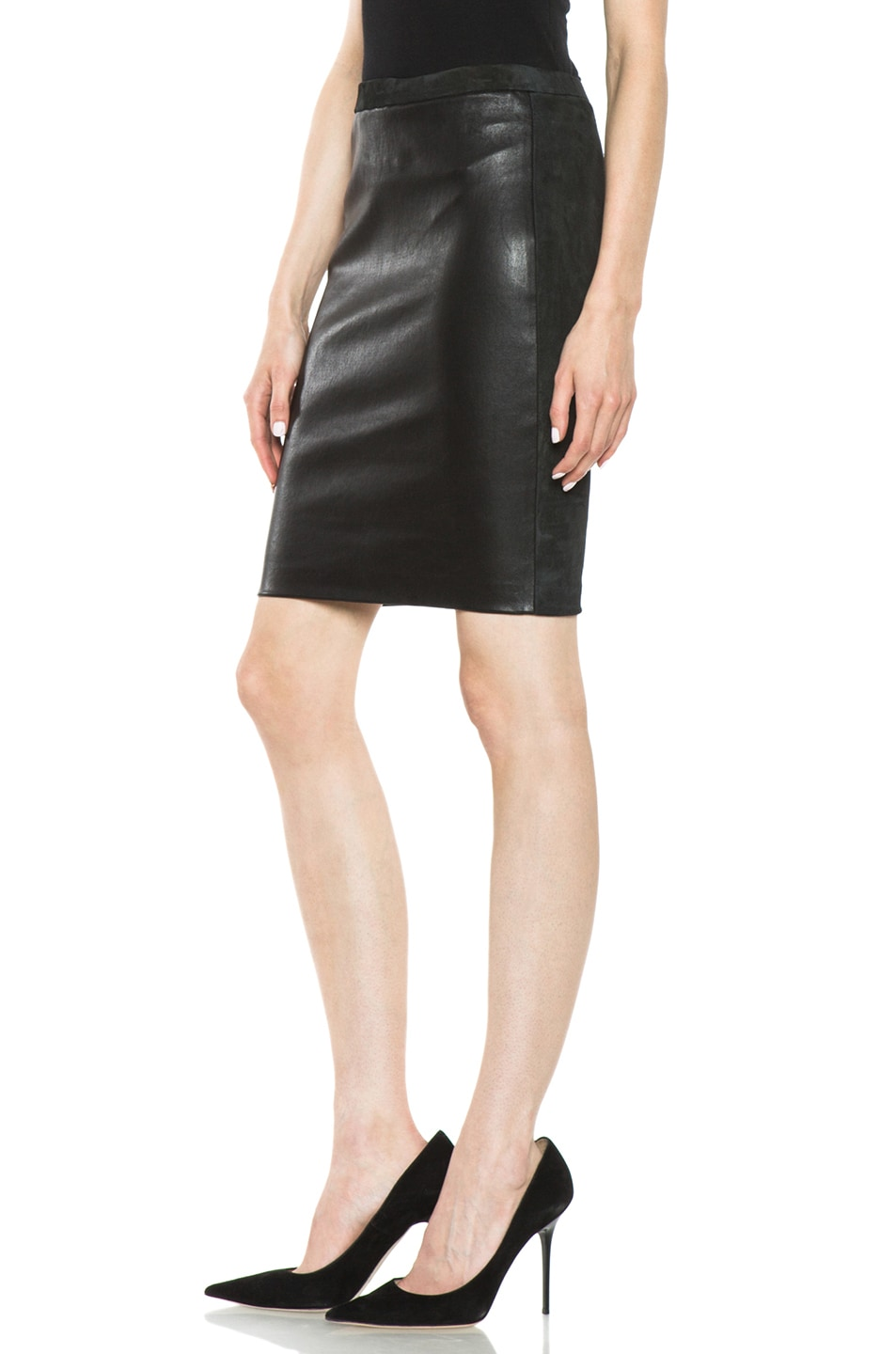 Image 2 of Isabel Marant Istone Lambskin Skirt in Faded Black