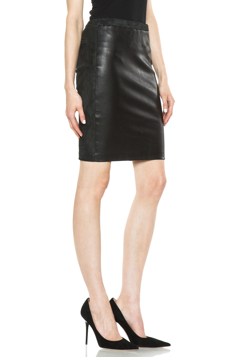 Image 3 of Isabel Marant Istone Lambskin Skirt in Faded Black