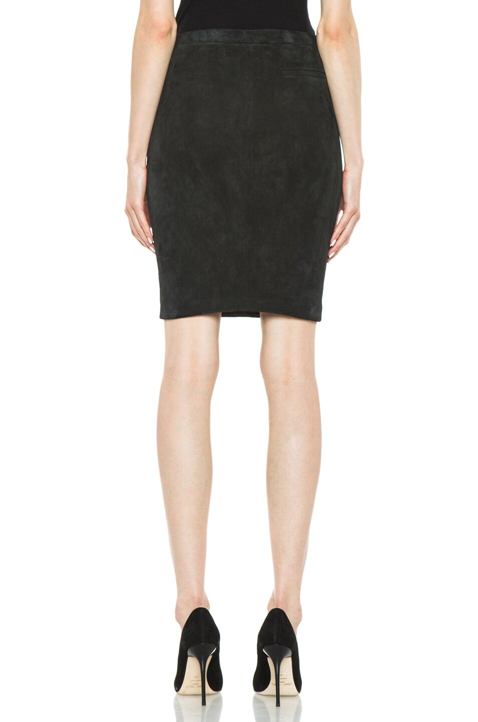 Image 4 of Isabel Marant Istone Lambskin Skirt in Faded Black