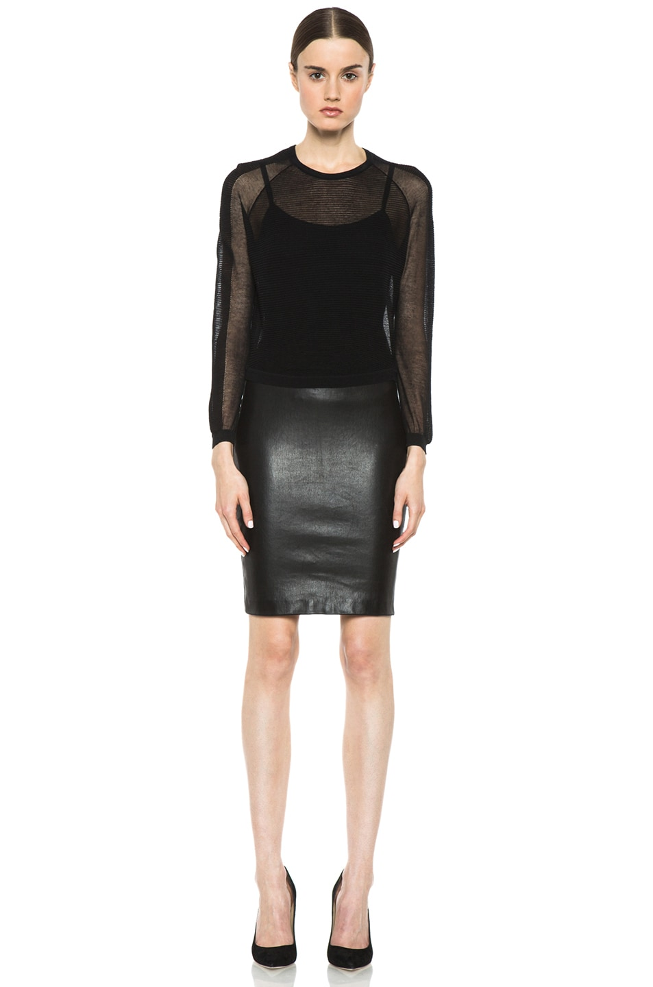 Image 5 of Isabel Marant Istone Lambskin Skirt in Faded Black