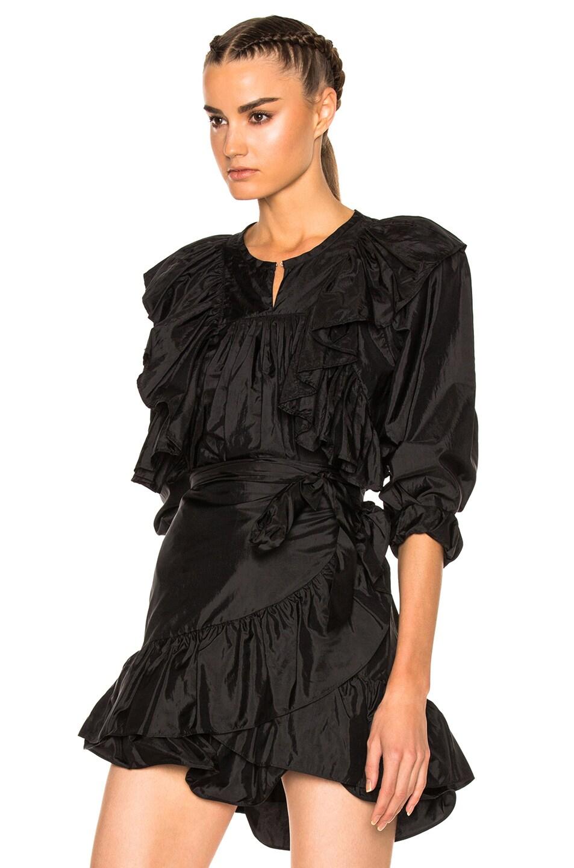 ISABEL MARANT Arlington Modern Silk Ruffle Top in Black
