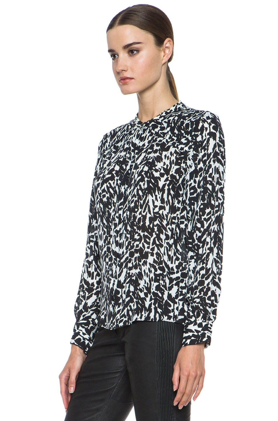 Image 2 of Isabel Marant Moriah Charmeuse Leopard Blouse in Black