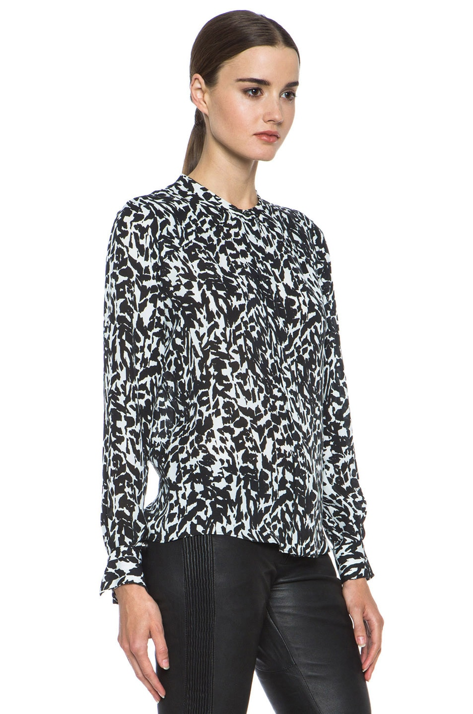 Image 3 of Isabel Marant Moriah Charmeuse Leopard Blouse in Black