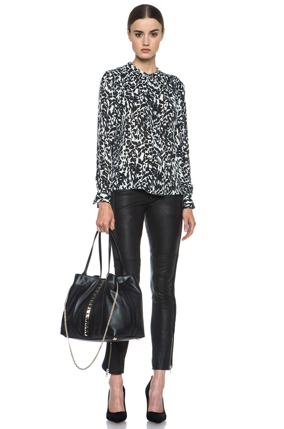 Image 5 of Isabel Marant Moriah Charmeuse Leopard Blouse in Black