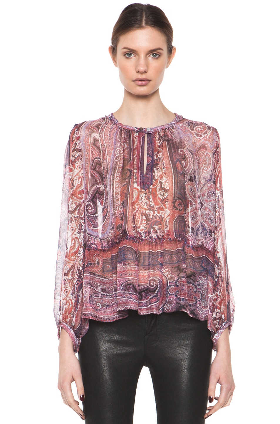 Image 1 of Isabel Marant Shayne Paisley Silk Gauze Top in Violet Blue