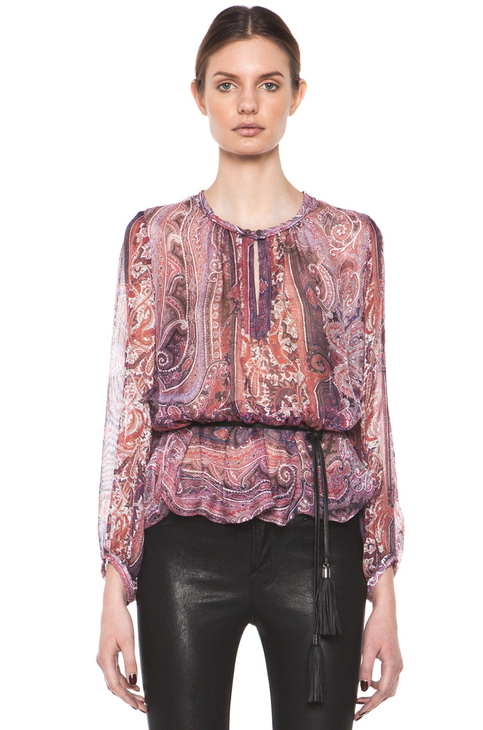 Image 2 of Isabel Marant Shayne Paisley Silk Gauze Top in Violet Blue