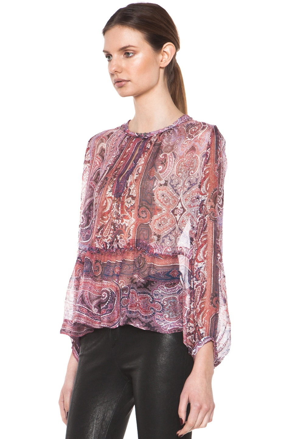 Image 3 of Isabel Marant Shayne Paisley Silk Gauze Top in Violet Blue