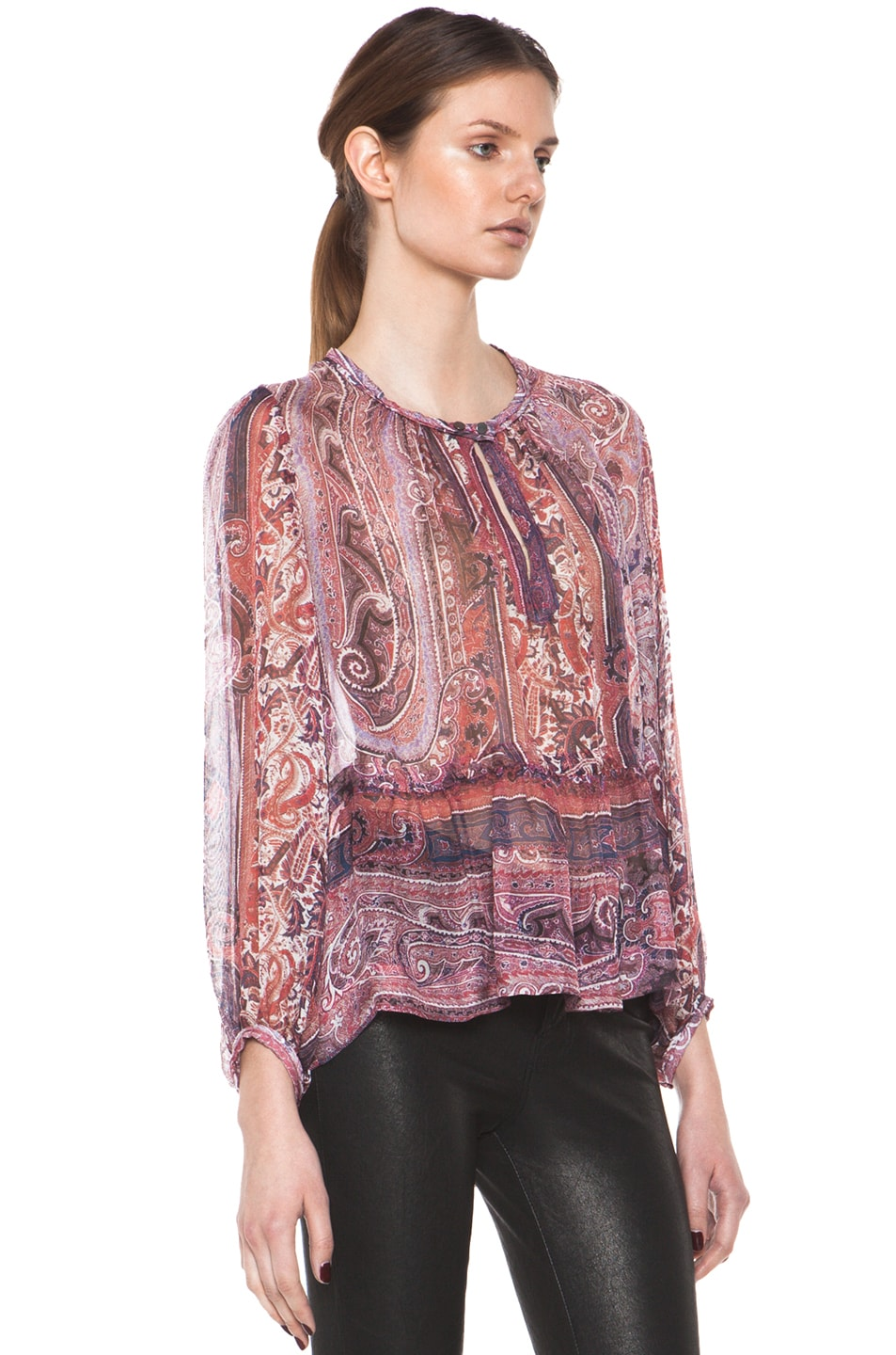 Image 4 of Isabel Marant Shayne Paisley Silk Gauze Top in Violet Blue