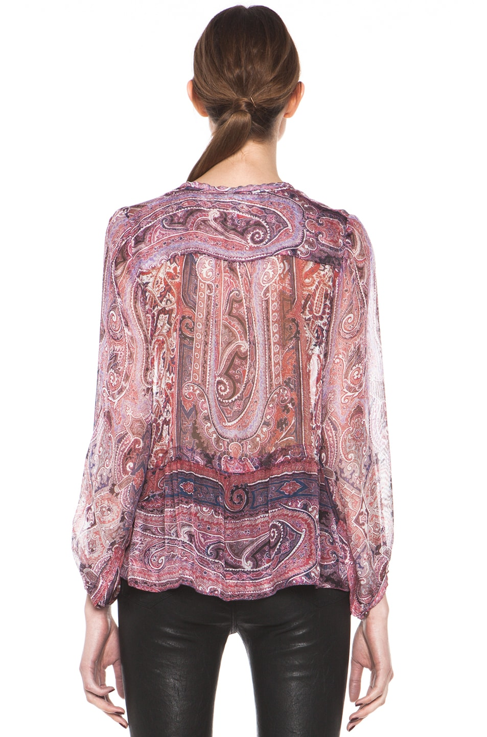 Image 5 of Isabel Marant Shayne Paisley Silk Gauze Top in Violet Blue