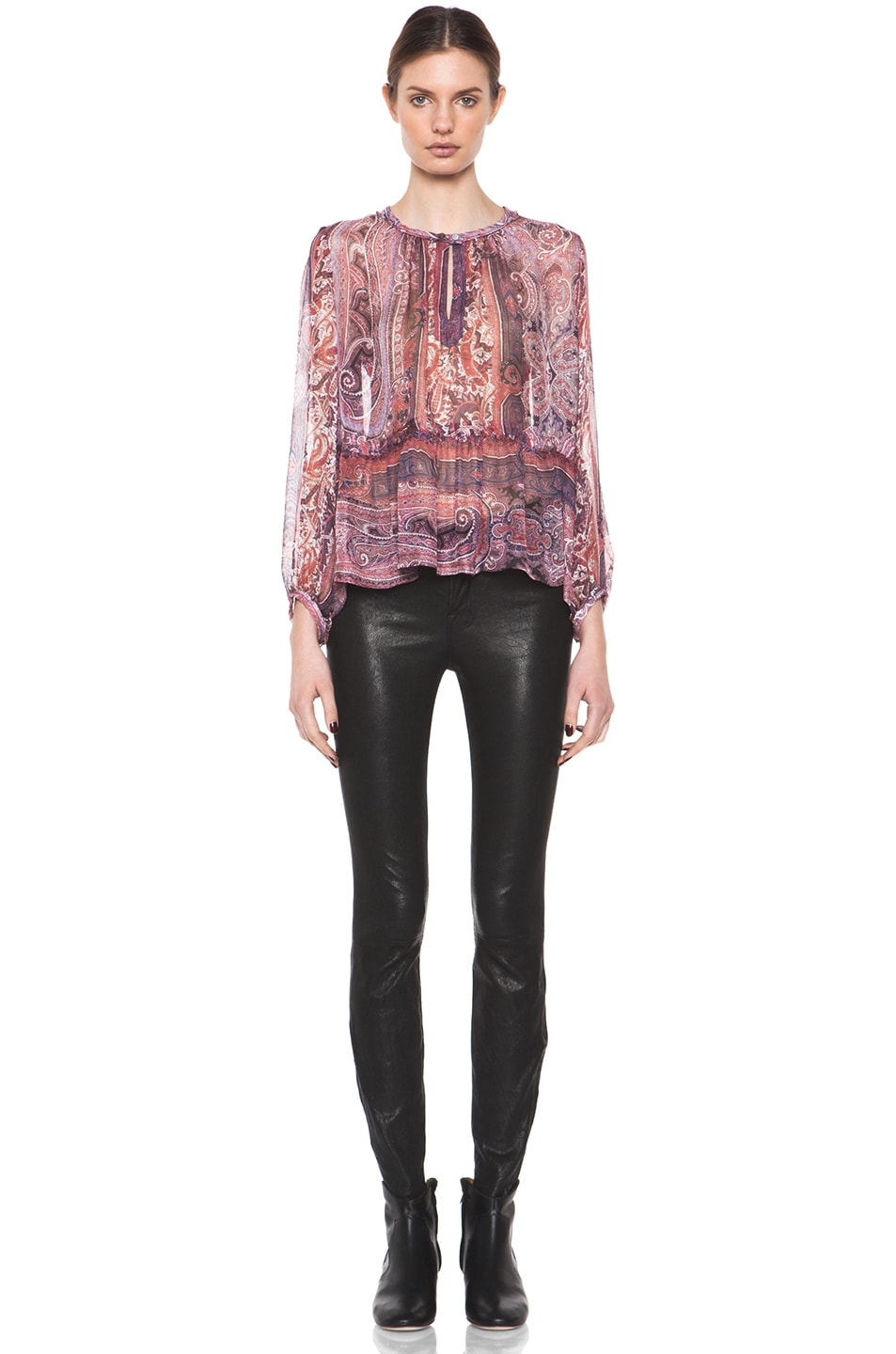 Image 6 of Isabel Marant Shayne Paisley Silk Gauze Top in Violet Blue