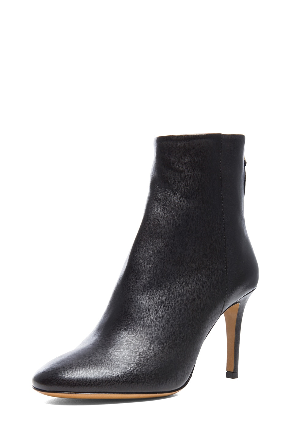 Image 2 of Isabel Marant Aliah Lambskin Leather Booties in Black