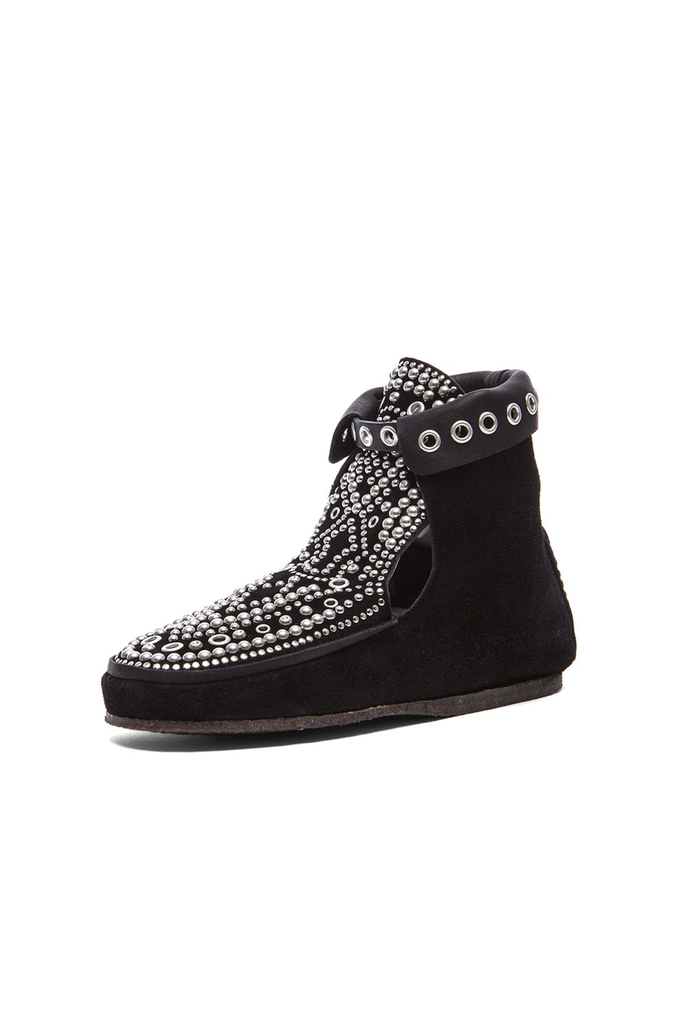 Image 2 of Isabel Marant Morley Rivet Calfskin Velvet Leather Moccassins in Black