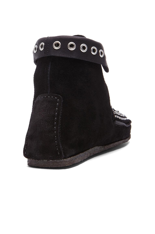 Image 3 of Isabel Marant Morley Rivet Calfskin Velvet Leather Moccassins in Black