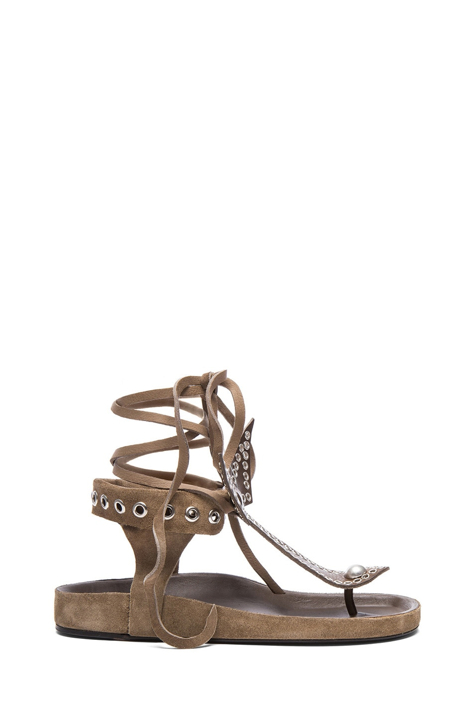 Image 1 of Isabel Marant Edris Calfskin Velvet Leather Sandals in Khaki