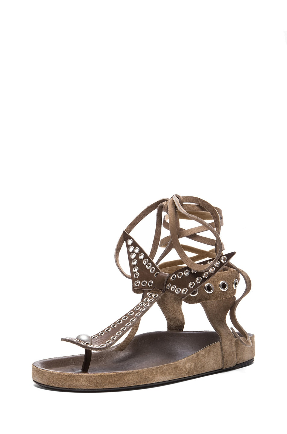 Image 2 of Isabel Marant Edris Calfskin Velvet Leather Sandals in Khaki