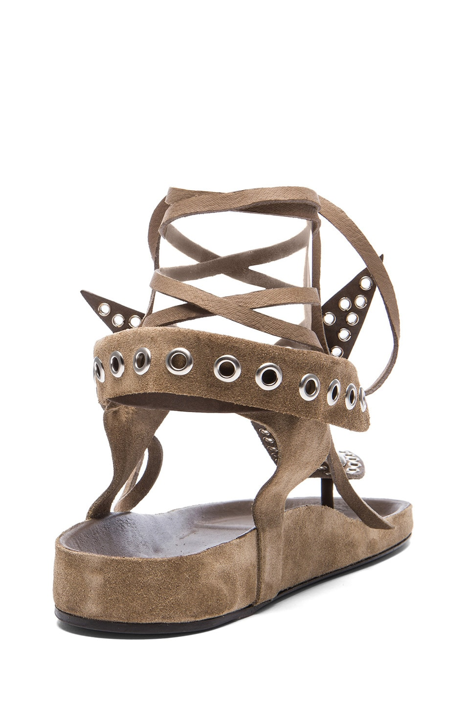 Image 3 of Isabel Marant Edris Calfskin Velvet Leather Sandals in Khaki