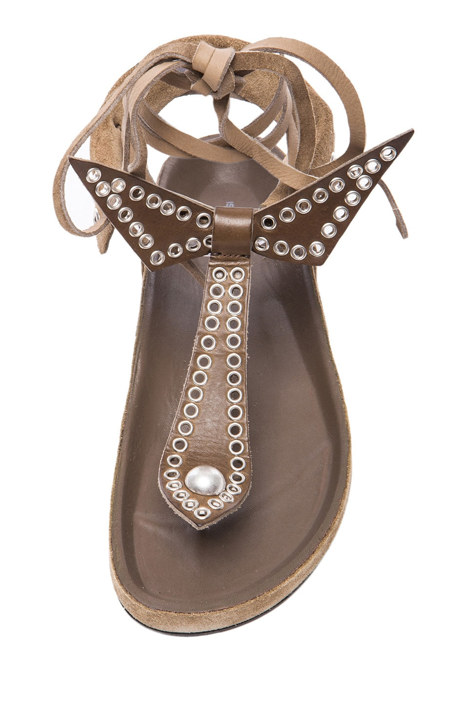 Image 4 of Isabel Marant Edris Calfskin Velvet Leather Sandals in Khaki