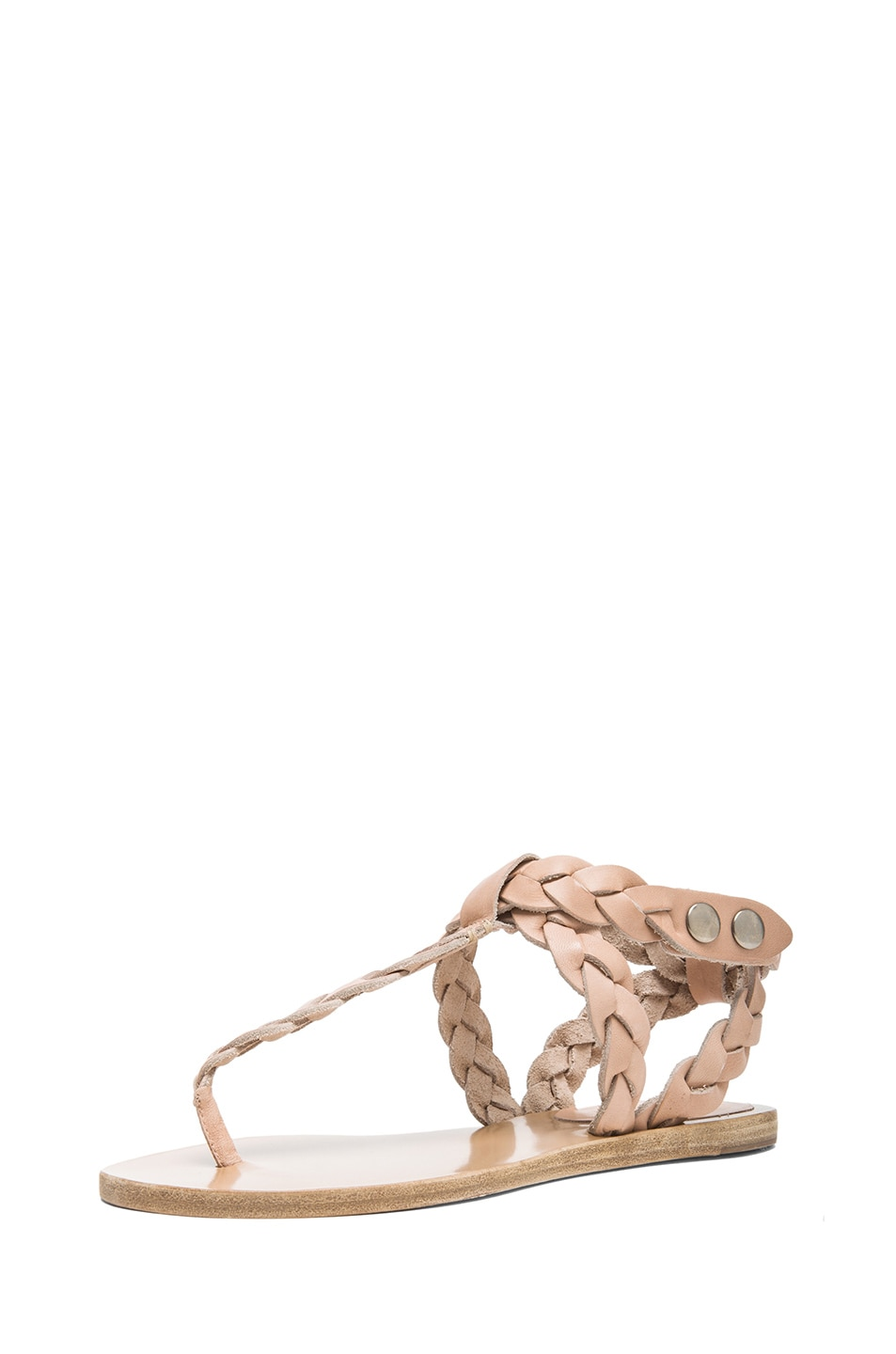 Image 2 of Isabel Marant Brina Braided Calfskin Leather Sandals in Nude